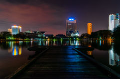 Shah Alam urban view at night. This beautiful scenery taken at shah alam lake during night with reflection stock photos