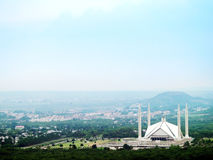 Shah Faisal Mosque. Muslim's Worship Place. View from mountains of Shah Faisal Mosque in Islamabad City of Pakistan Stock Image