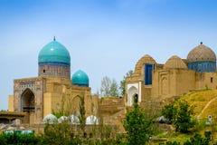 Shah-I-Zinda纪念复合体,大墓地在撒马而罕,乌兹别克斯坦 免版税库存图片
