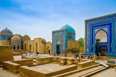 Shah-I-Zinda纪念复合体,大墓地在撒马而罕,乌兹别克斯坦 免版税库存照片