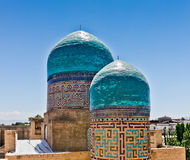 Shah-i-Zinda Domes. In Samarkand Stock Image