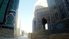 Shah-I-Zinda memorial complex, necropolis in Samarkand, Uzbekistan. UNESCO World Heritage stock footage
