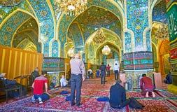 Shah ` s清真寺祷告大厅在德黑兰 免版税库存图片
