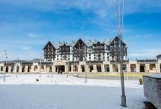 Shahdag - 8 Φεβρουαρίου 2015: Ξενοδοχεία τουριστών επάνω Στοκ φωτογραφίες με δικαίωμα ελεύθερης χρήσης