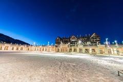 Shahdag - 27 Φεβρουαρίου 2015: Ξενοδοχεία τουριστών επάνω Στοκ Εικόνα