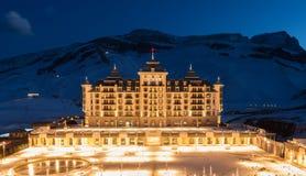 Shahdag - 27 febbraio 2015: Hotel turistici sopra Fotografie Stock