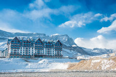 Shahdag - FEBRUARY 8, 2015: Tourist Hotels  on Royalty Free Stock Photography