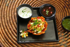 Shahi Aloo Tokri Chaat or Potato Basket Stock Photo