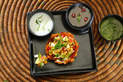 Shahi Aloo Tokri Chaat or Potato Basket Stock Photography