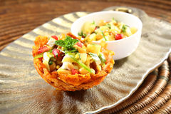 Shahi Aloo Tokri Chaat or Potato Basket Stock Photos