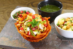 Shahi Aloo Tokri Chaat or Potato Basket Stock Images