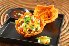 Shahi Aloo Tokri Chaat or Potato Basket Stock Image