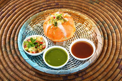 Shahi Raj Kachori - katchori filled with potato, sprout served w Royalty Free Stock Photos