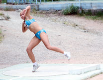 Shaidova Katerina competes in shot put competition Stock Photos