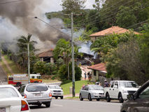 Shailer Park Fire 1. A house fire in Shailer Park, Brisbane Queensland today the 3rd of February 2012. Started after a number of explosions Royalty Free Stock Images
