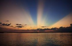 Shaining Tonlesap landscape. Sunset Tonle Sap lake in Cambodia Stock Photos