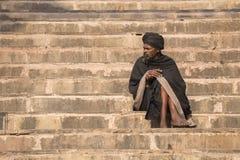 Shaiva sadhu,圣洁者画象在瓦腊纳西,印度 库存图片