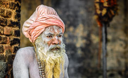 Shaiva sadhu (helig man) i den Pashupatinath templet, Katmandu, Nep Royaltyfria Bilder