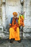 Shaiva sadhu (holy man) in ancient Pashupatinath Temple Royalty Free Stock Images