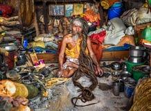 Shaiva sadhu (holy man)  living in Pashupatinath Temple, Kathman Stock Image