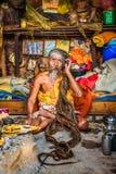 Shaiva sadhu (holy man)  living in Pashupatinath Temple, Kathman Stock Images
