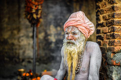 Shaiva sadhu (holy man)  in Pashupatinath Temple, Kathmandu, Nep Royalty Free Stock Photos