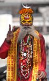 Shaiva sadhu seeks alms on the road Royalty Free Stock Image