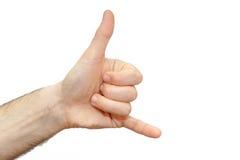 Shaka communiquent le contact de personnes de signe de poignet d'isolement Photographie stock