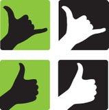 Shaka et pouces lèvent des gestes de main Photo stock