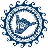 Shaka firma adentro un ornamento redondo de las ondas libre illustration
