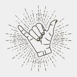 Shaka - gesto de mão surfando com vetor do sunburst do vintage ilustração do vetor