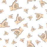Shaka ręki wzoru biel Zdjęcie Royalty Free