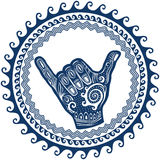 Shaka sign in round wave ornament Stock Photography