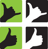 Shaka and Thumbs Up Hand Gestures stock photo
