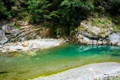 Shakadang hiking trail river view with crystal clear water and m stock photography