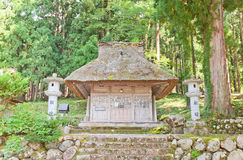 Shakado Hall of Hachiman Shrine in Ogimachi gassho style village. Shakado Hall 1627 of Shirakawa Hachiman Shinto Shrine in Ogimachi gassho style village of Stock Image