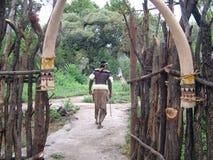 SHAKALAND, AFRIQUE DU SUD - VERS EN NOVEMBRE 2011 : Porte d'entrée de village de zoulou Images libres de droits