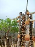 Shakaland, zbliżenie kamienna brama w zulu wiosce Obraz Stock