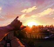 Shakas et couchers du soleil Photos stock