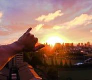 Shakas und Sonnenuntergänge Stockfotos
