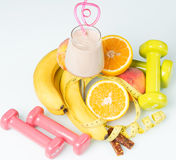 Shake with fruit. Protein shake with fruit Royalty Free Stock Images