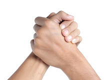 Shake hand. Can be shake hand or arm wrestling between two man Royalty Free Stock Photography