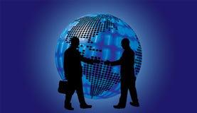 Shake hand digital globe background beautiful banner wallpaper d Stock Photography