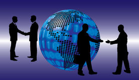 Shake hand digital globe background beautiful banner wallpaper d Royalty Free Stock Images