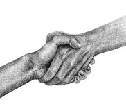 Shake hand drawing Royalty Free Stock Images