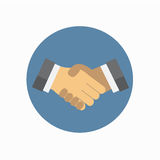 Shake hand flat icon royalty free illustration