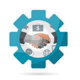 Shake Hand Gear Business vector Royalty Free Stock Photo