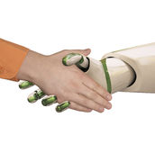 Shake hands. Robot and the man shake hands. Isolated on white Stock Photo