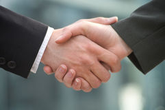 Shake-hands. A businessman shake hands with a businesswoman Royalty Free Stock Photo