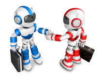 Shake hands Blue robot and Red robot facing each other. Create 3 Royalty Free Stock Photo